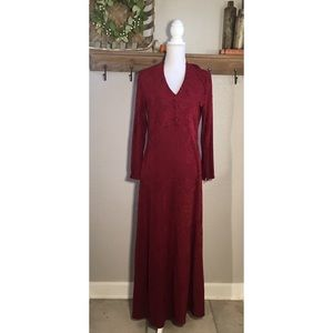 Soft Surroundings Red Maxi Dress Embroidered